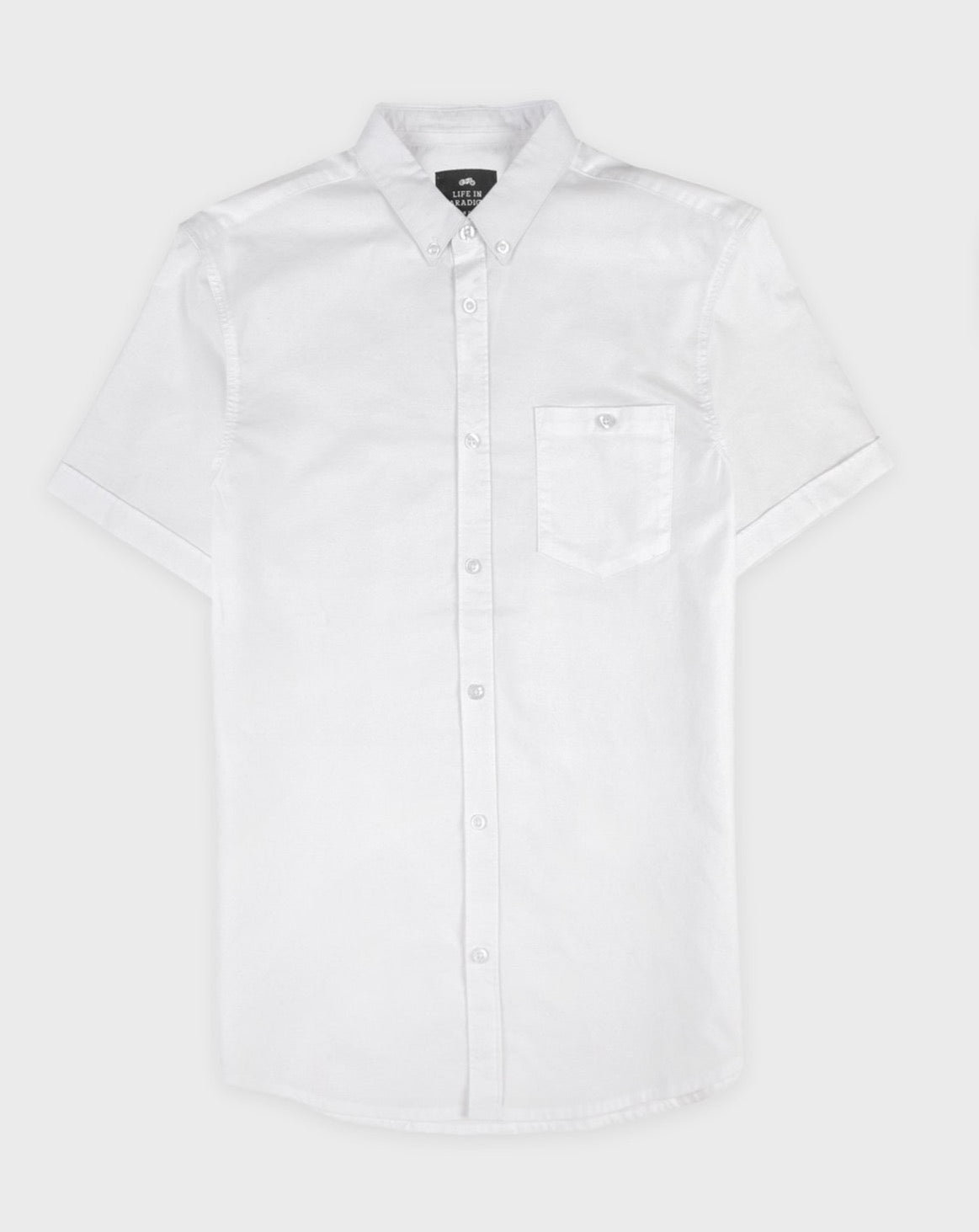 White Short Sleeve Oxford Shirt - Life in Paradigm Menswear London