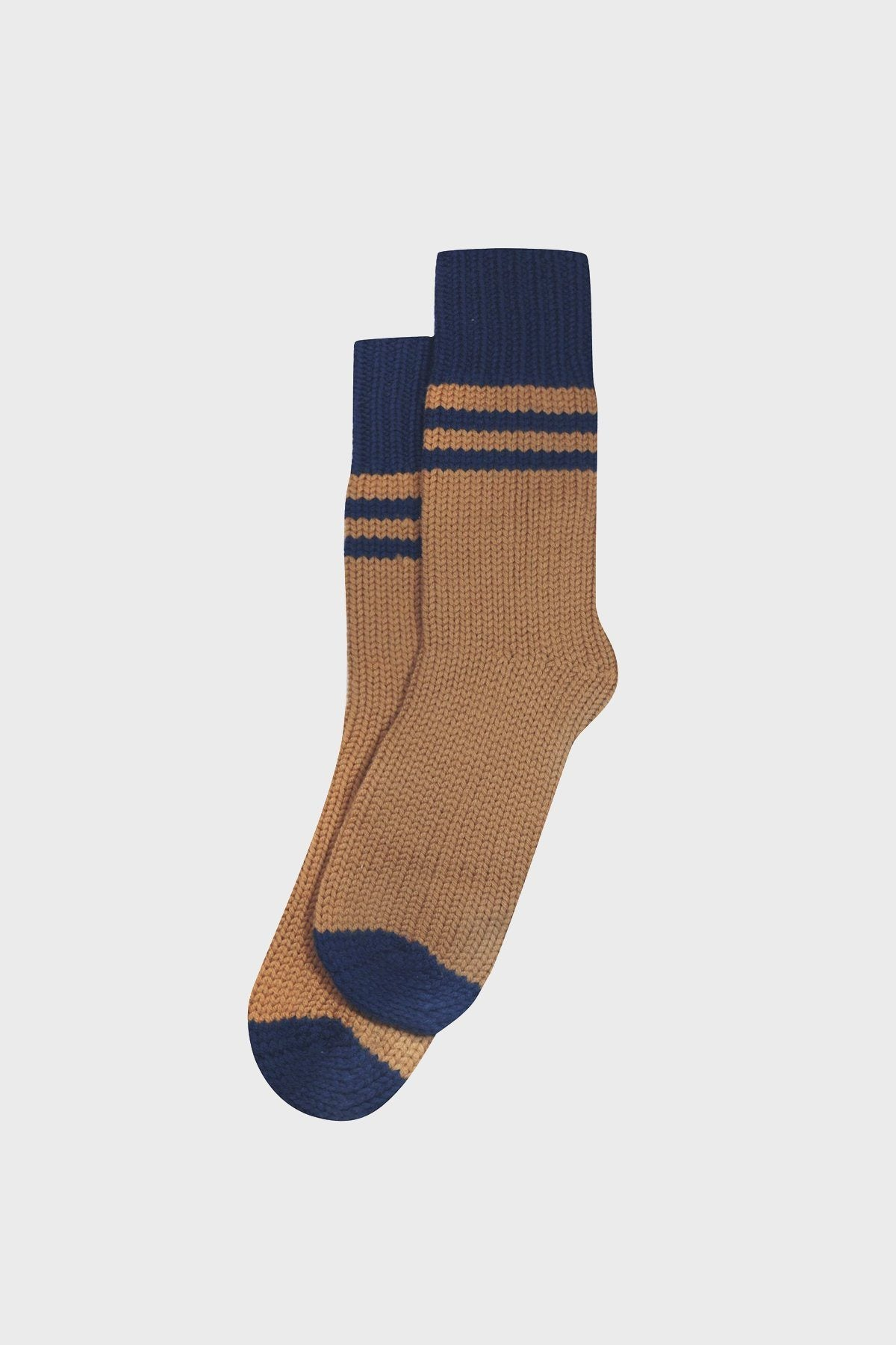 Wool Navy and Tobacco Cabin Socks - Life in Paradigm Menswear London