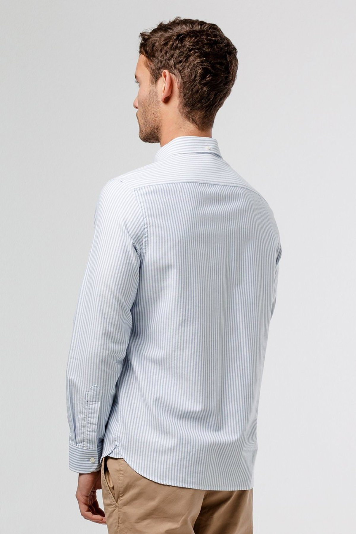 Stripped White and Blue Shirt with Duck Patch - Life in Paradigm Menswear London