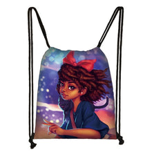 Load image into Gallery viewer, Afro Girls Print Drawstring Bag for Women and Girls