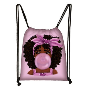 Afro Girls Print Drawstring Bag for Women and Girls