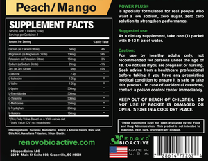 Power Plus Drink Mix Electrolytes/BCAA's Peach Mango Flavored (25 single serving packets)