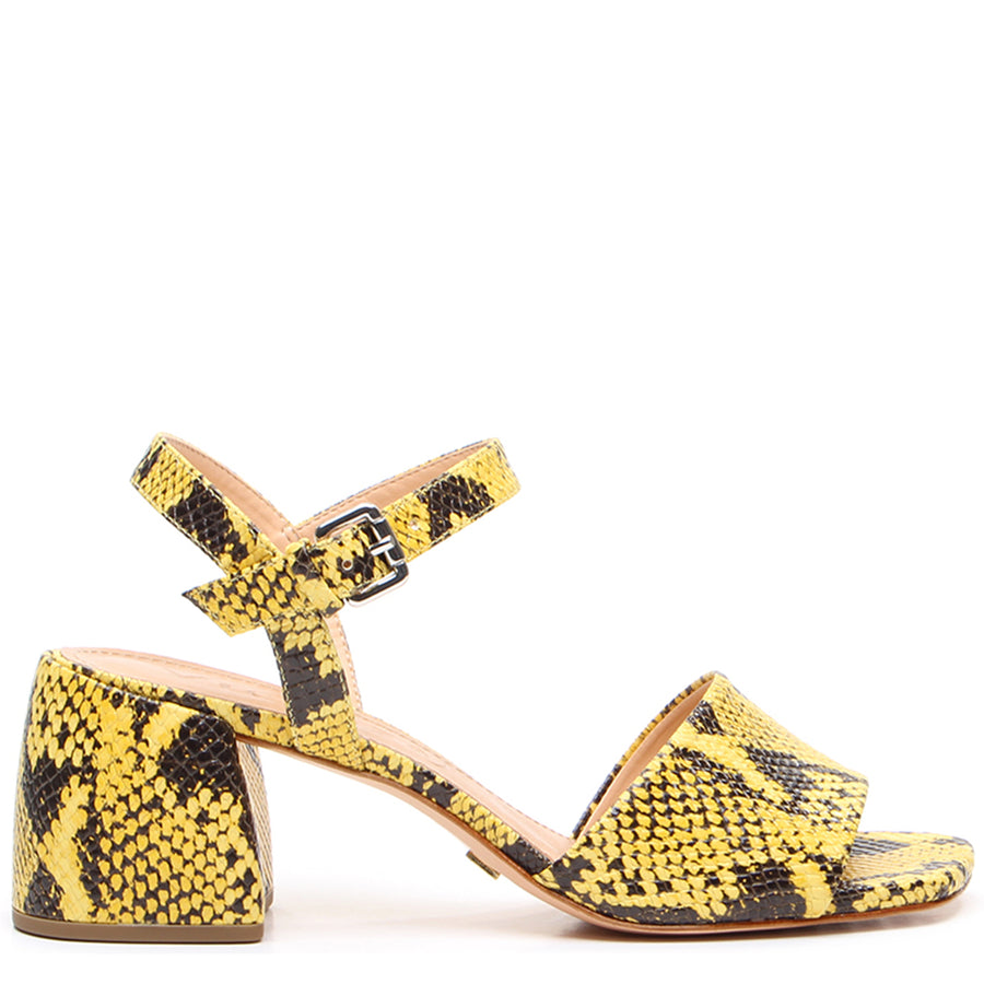 Glenda Block Heel Sandals Yellow