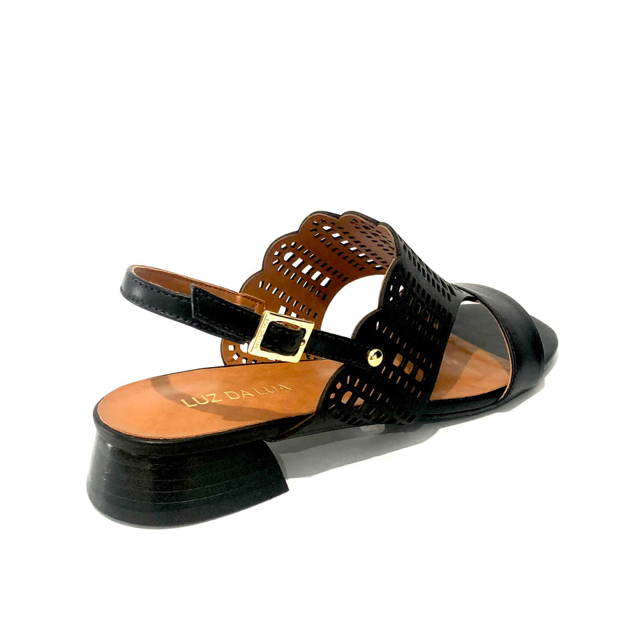 Alyssa Low Heel Sandals Black