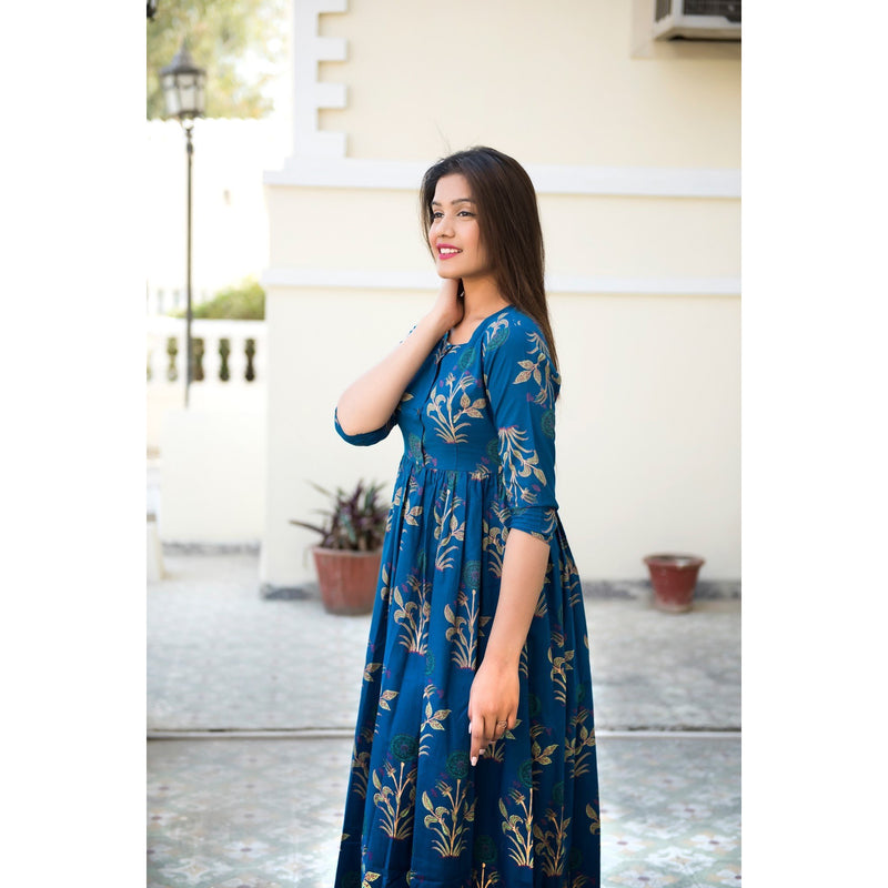 Block Printed Mughal Butta Maxi Dress In Blue