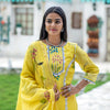 Splash Lemon Yellow Chanderi Crochet Suit