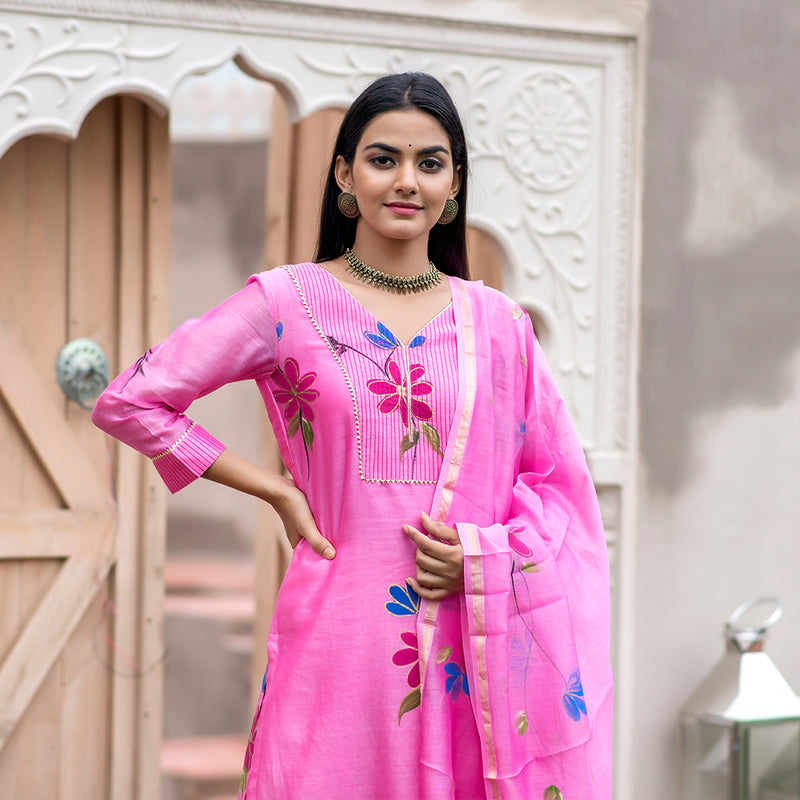 Hand Painted Flora Fuchsia Pink Chanderi Suit