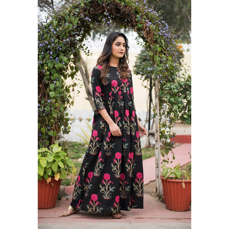 Block Printed Mughal Butta Maxi Dress In Black