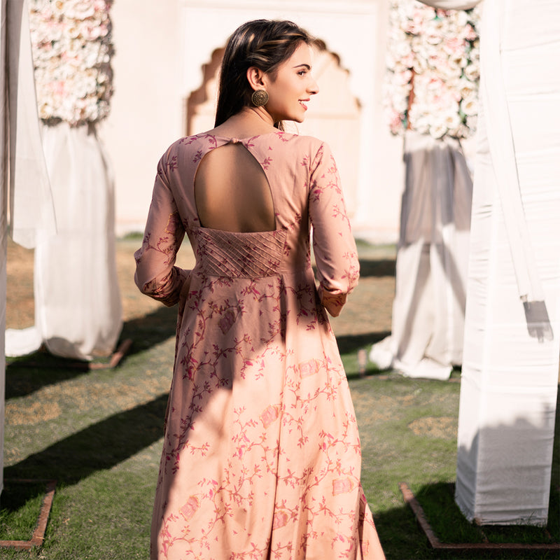 DUSTY ROSE FLORAL CAGE PRINT DRESS