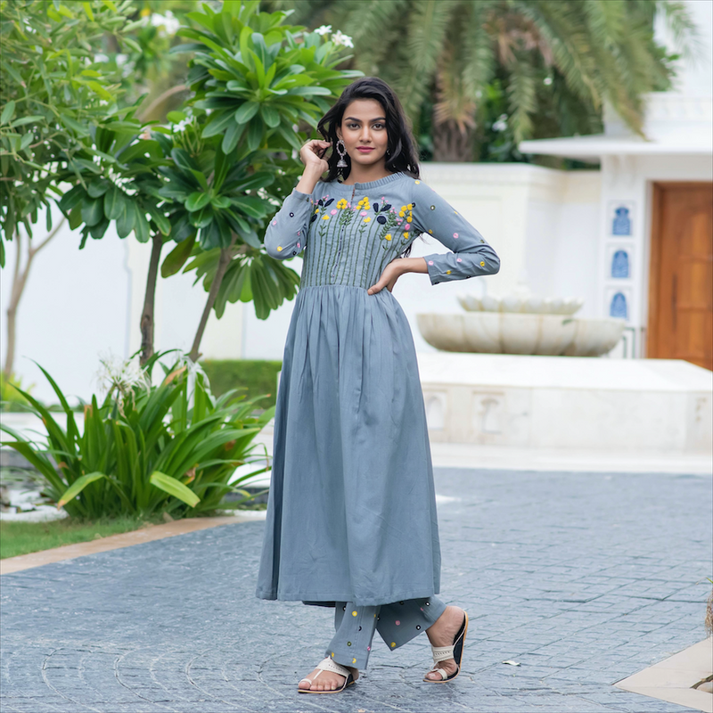 Anchor Embroidery Kurta Set