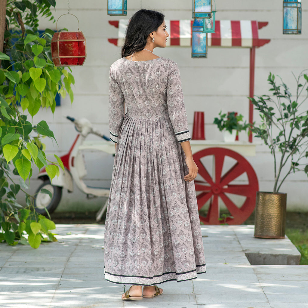 Oyster Grey  Indowestern Dress
