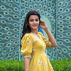 Puff Sleeves Yellow Dress