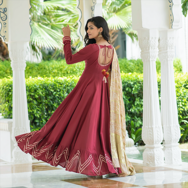 Carmine Red Dress With Bandhej Dupatta