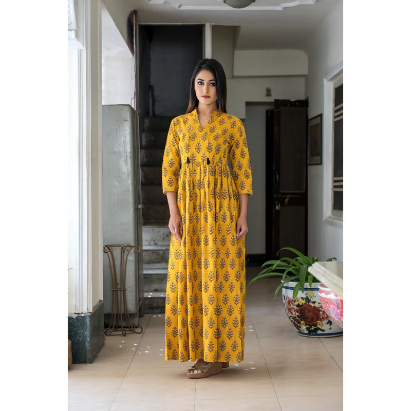 Yellow Hand Block Printed Tassel Maxi Dress