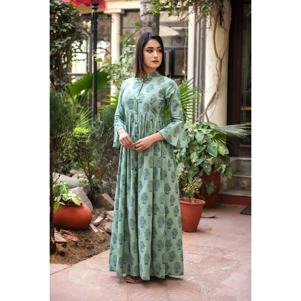 Hand Block Printed Button Maxi Dress In Green