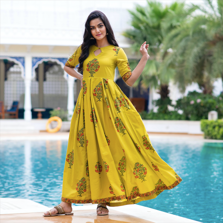 Amber Yellow Printed Dress