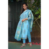 Sky Blue Block Printed Kota Doriya Suit Set