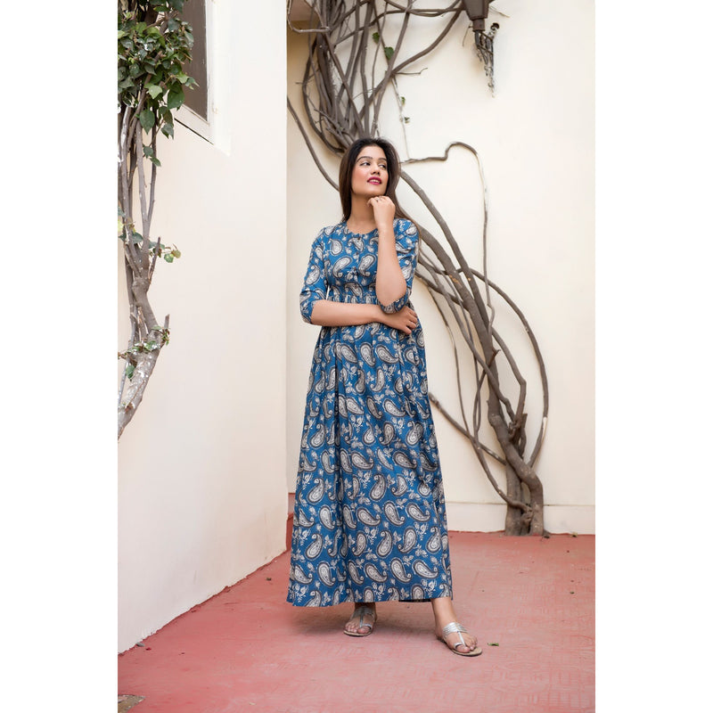 Sky Blue Paisley Maxi Dress In Hand Block Printing