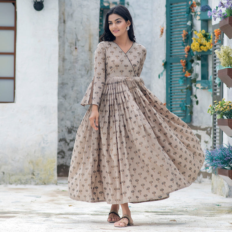 Pearl Mouse Grey Angrakha Elbow Bell Dress