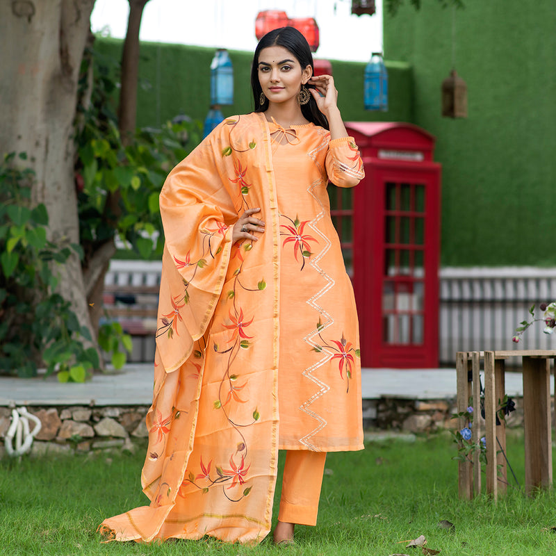 Handpainted Royal Orange Chanderi Suit