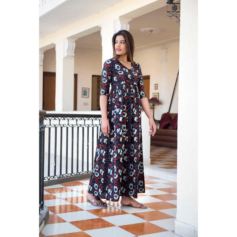 Midnight Flower Hand Block Printed Maxi Dress