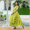 Green Gota Embellished Kurta Lehenga Set