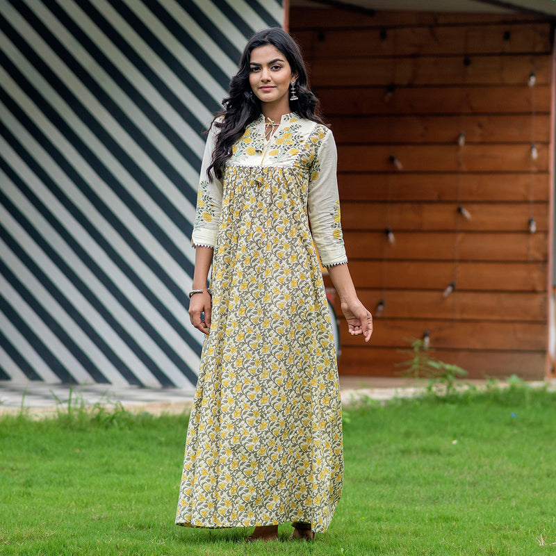 Pastel Yellow Mughal Butta Dress