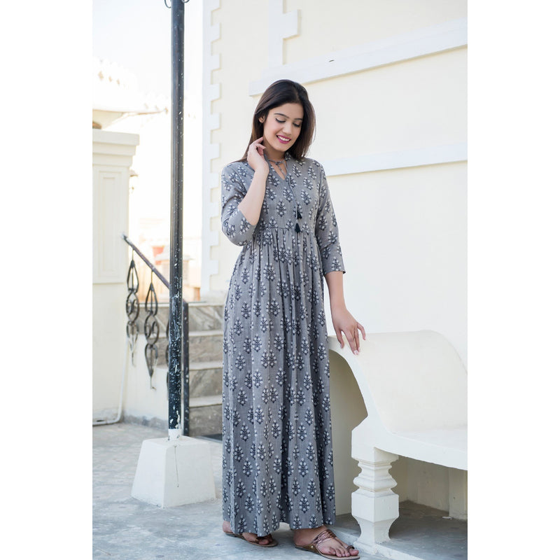 Hand Block Printed Tassel Maxi Dress In Grey