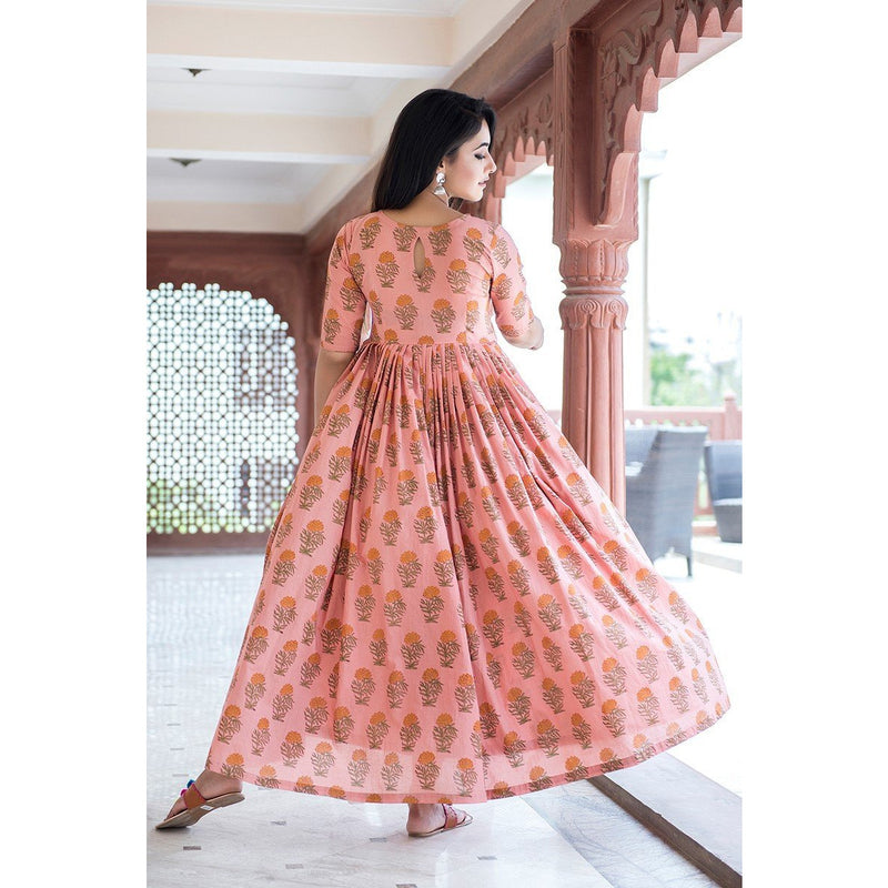 Block Printed Floral Maxi Dress In Peach