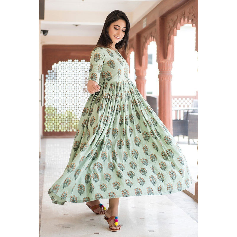 Spring Flower Hand Printed Cotton Maxi Dress In Pistachio Green