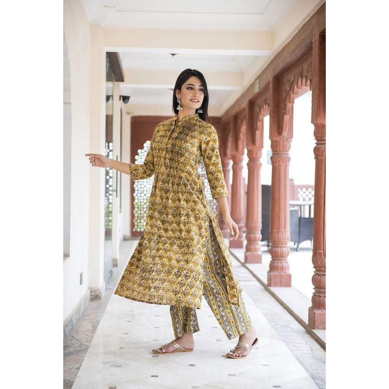 Mustard Pleated Kurta Palazzo In Khadi Cotton