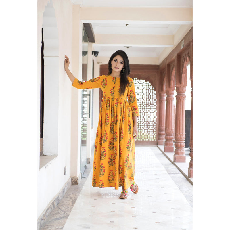 Yellow Floral Printed Cotton Maxi Dress