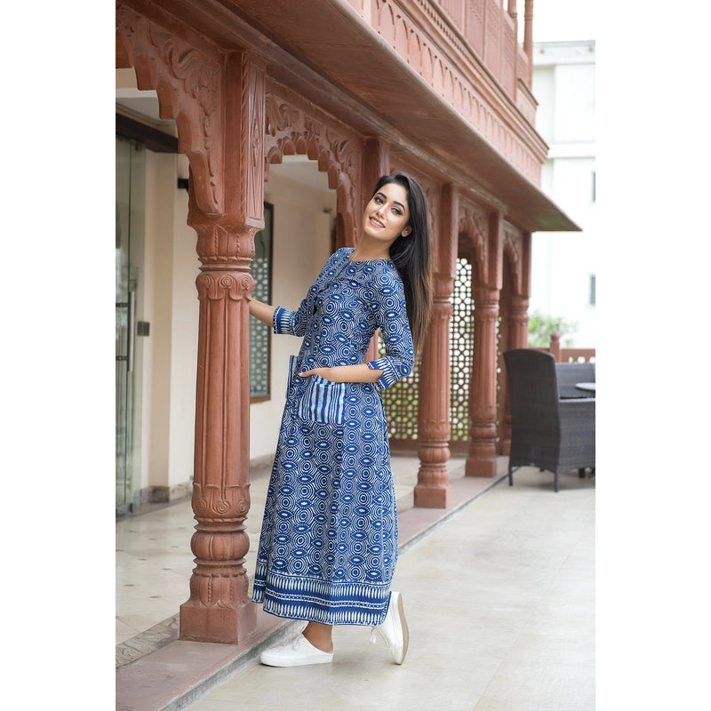 Indigo Casual Dress With Front Pocket