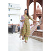 Henna Green Block Printed Kurta With Palazzo And Dupatta