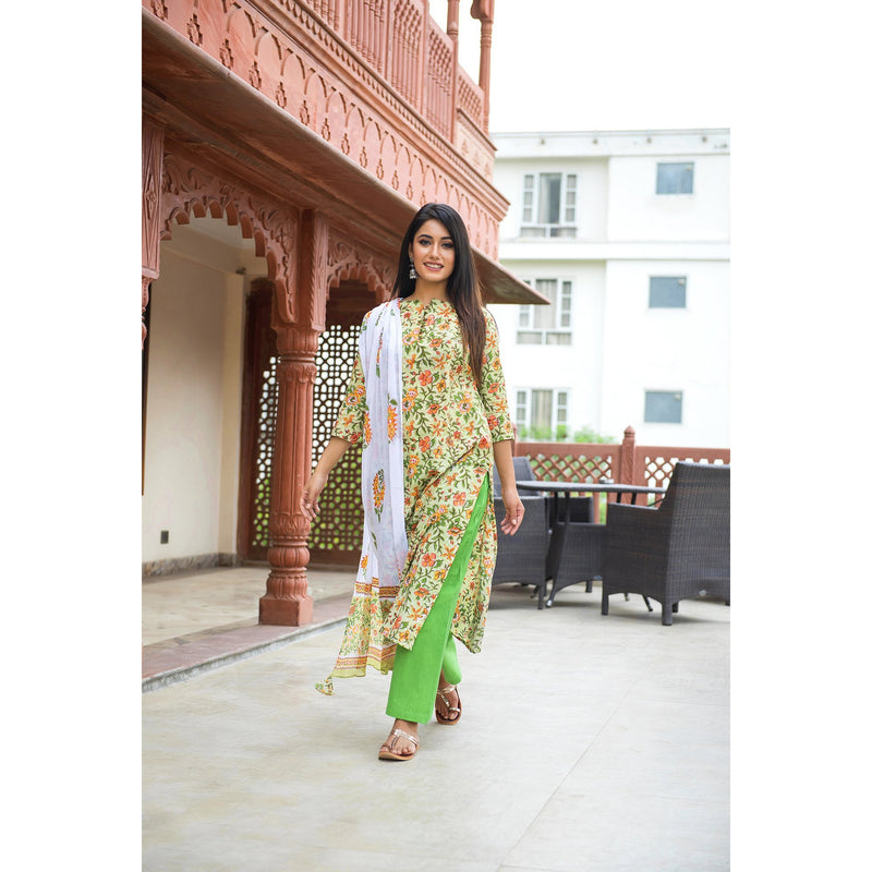 Bright Green Block Printed Floral  Suit Set