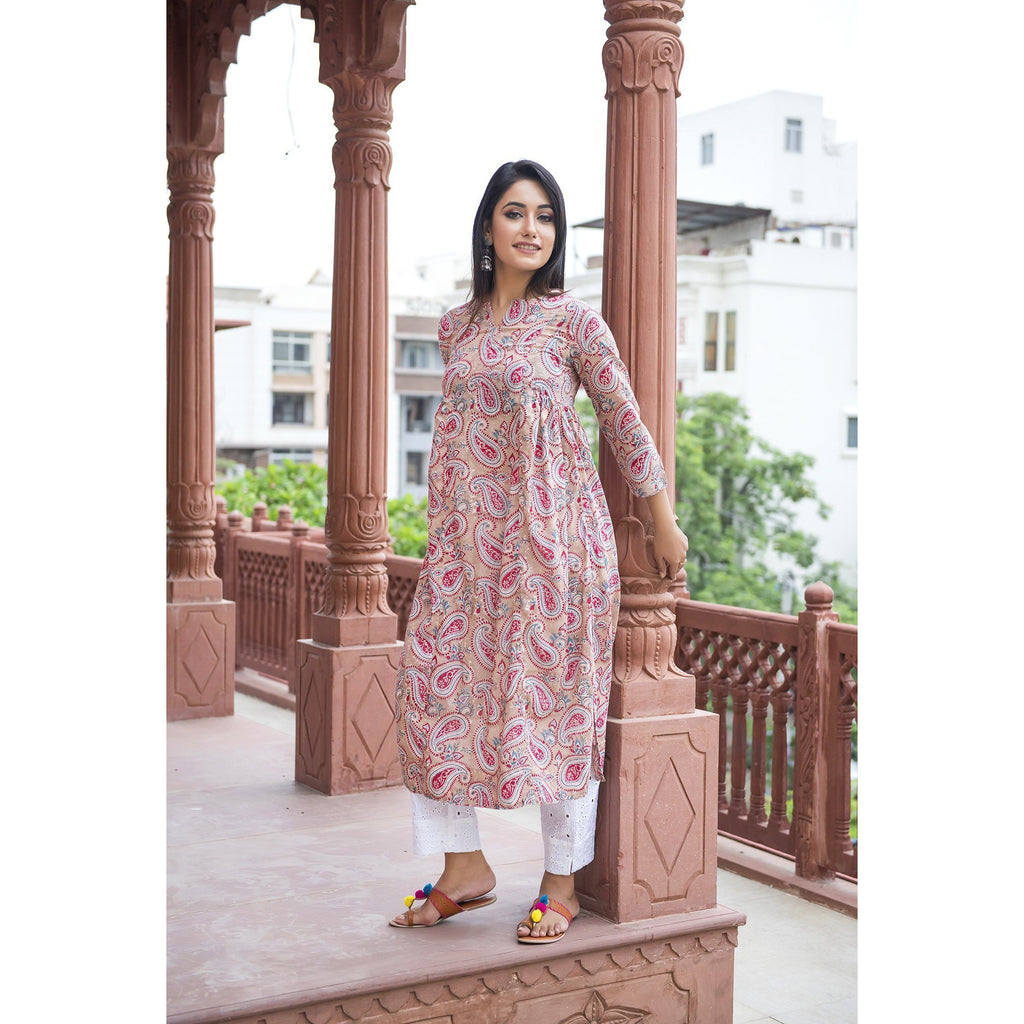 Ivory Paisley Side Pleated Kurta