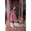 Red Chanderi Front Slit Dress In Pomegranate print