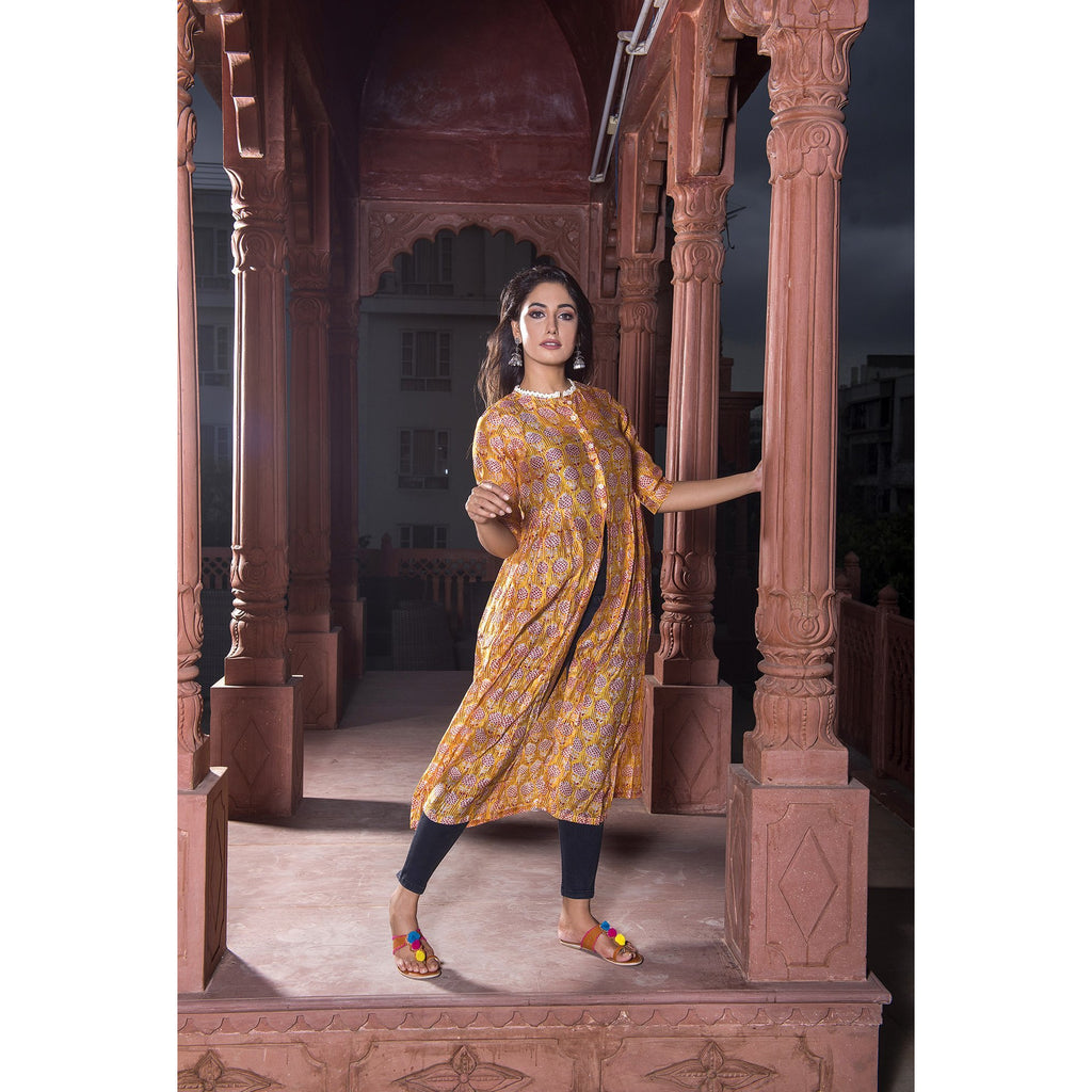 Yellow Chanderi Front Slit Dress In Pomegranate print