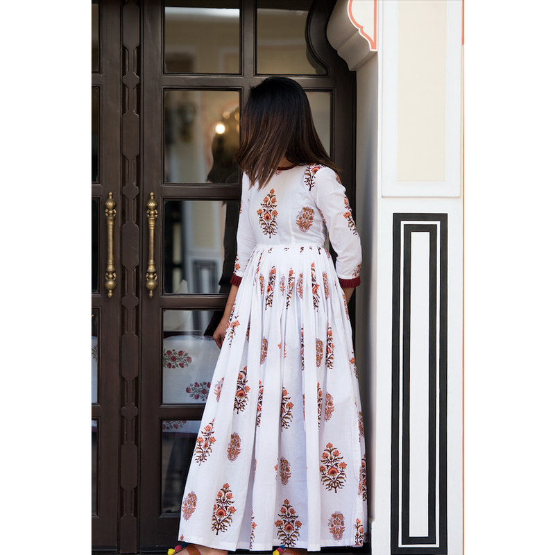 White Floral Back Button Dress