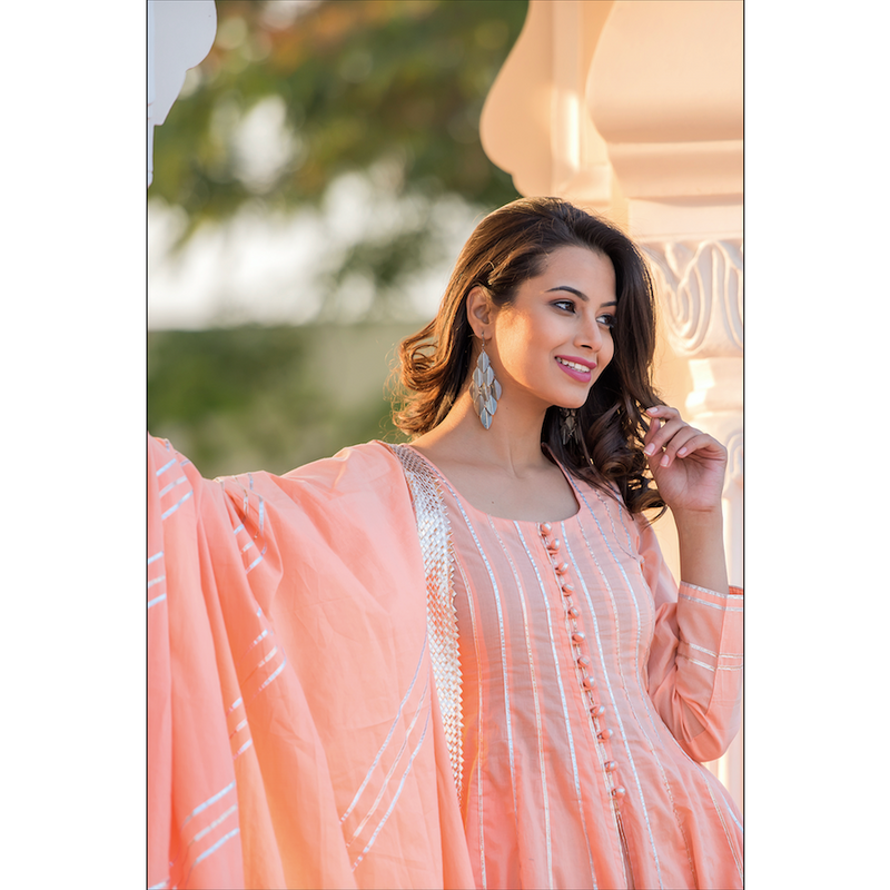 Peach Kali Suit Set With Gota Embroidery