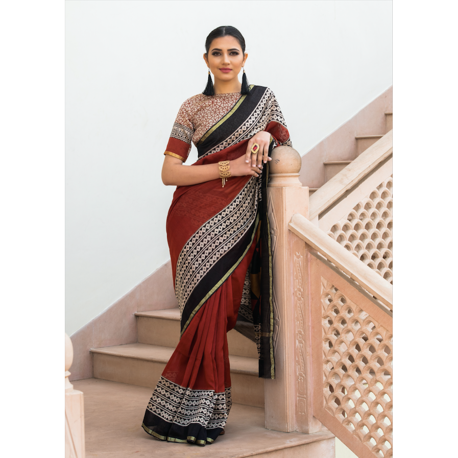 Rust Red Bagru Print Saree In Pure Chanderi