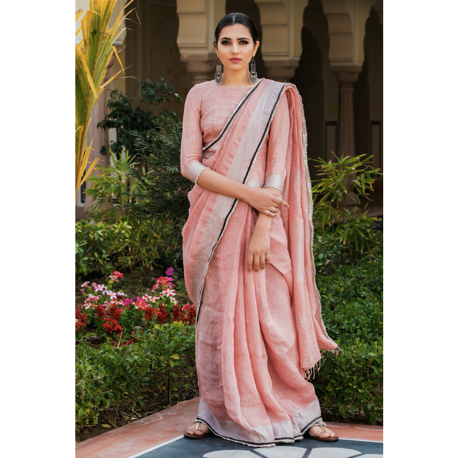 Blush Salmon Linen Saree With Gota Work