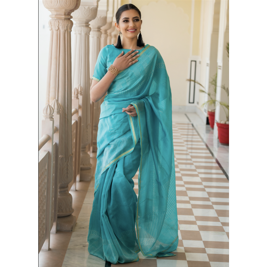 Mint Green Block Printed Chanderi Saree