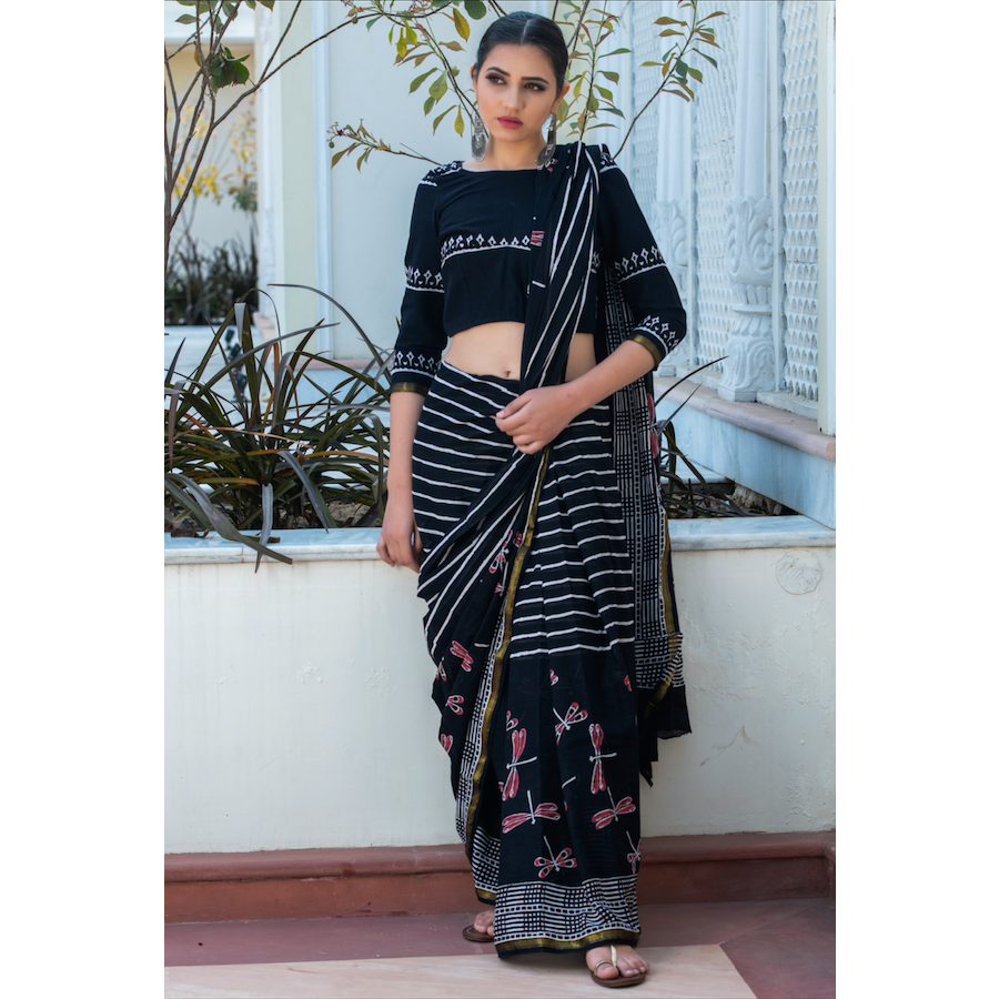 Black Block Printed Cotton Mul Saree