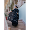 Black Block Printed Cotton Saree With Zari Border