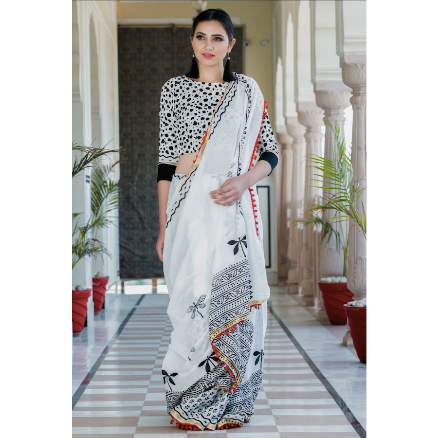 White Block Printed Cotton Mul Saree