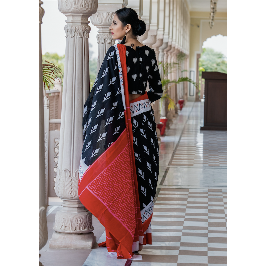 Black Ikat Print Cotton Mul Saree