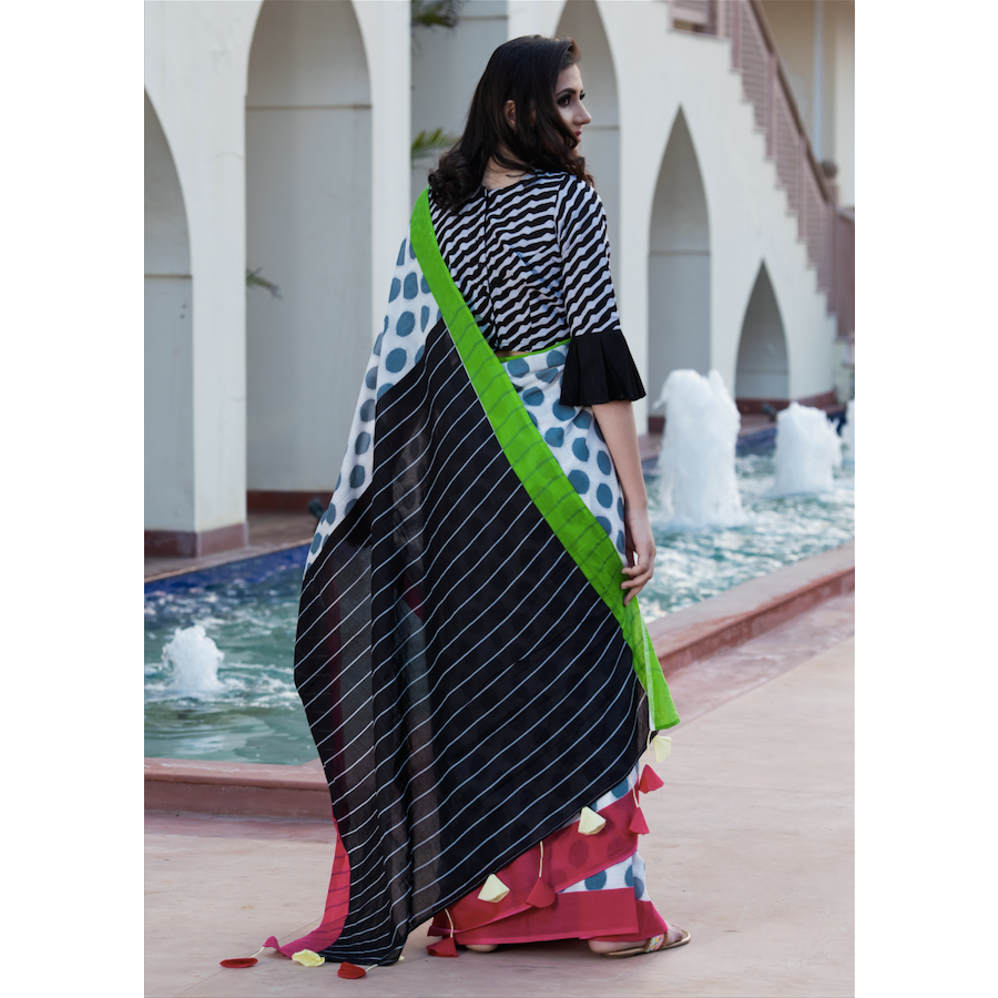 Polka Dot Print Cotton Mul Saree