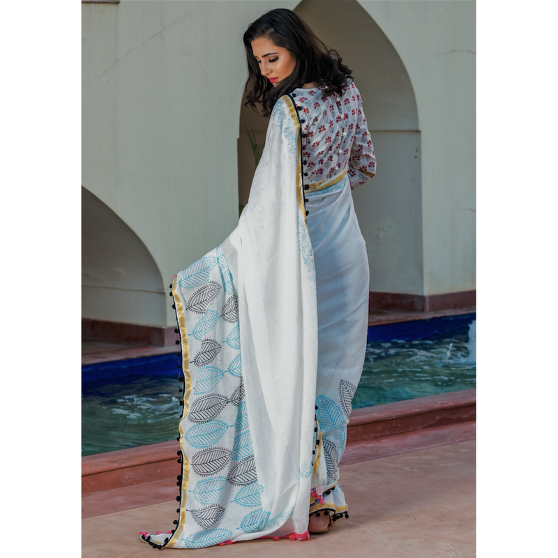 White Butta Print Cotton Mul Saree