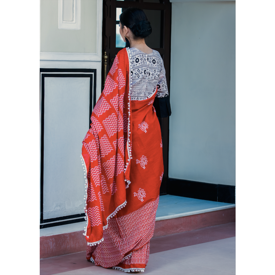 Red Block Printed Cotton Mul Saree